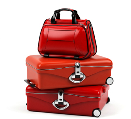 Assorted red luggage